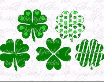 Shamrock SVG St Patricks Day SVG - four leaf clover SVG, Heart Clover, st Patricks svg, Cricut, Silhouette, Cameo, svg, dxf, png Cut Files