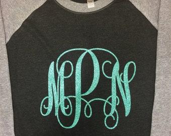 Glitter large monogram raglan, womens raglan, baseball shirt, initials shirt, baseball raglan shirt