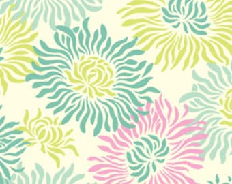 Fresh Cut Graphic Mum fabric in Turquoise by Heather Bailey for FreeSpirit fabrics