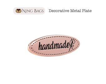 Set of 2 - Decorative Metal Plate with handmade Script, Oval Metal Label, Metal Plate, Metal Tag for Handmade Bag (Rose Gold Finish)