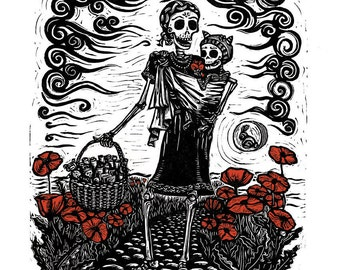Seis lunas, Mother and baby day of the dead linocut
