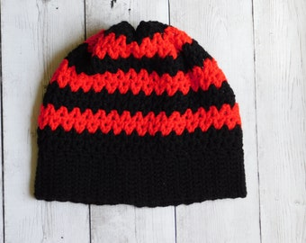 Striped slouchy beanie - slouchy hat - red and black beanie - slouchy beanie - striped slouchy hat -red and black goth beanie