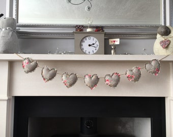 Handmade heart garland/bunting shabby chic - grey