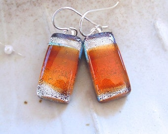 Orange Earrings, Silver, Fused Dichroic Glass Earrings, Dangle, Fused Glass Jewelry, A13