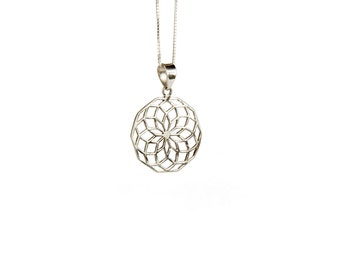 Star of Life Sterling Silver Pendant Necklace Spiritual jewellery Yogi Jewellery Geometry Jewellery Handmade Free UK delivery