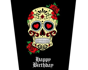 Sugar Skull and Roses Birthday Card