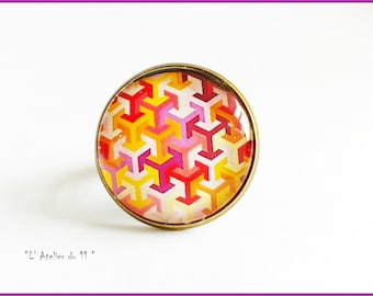 """Ring cabochon 20 mm """"Intertwined patterns colored"""" warm tones"""