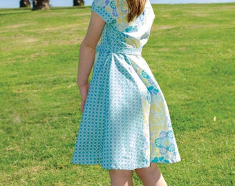 Lily Bird Studio PDF Sewing Pattern - Sweet Allie dress and top - 1 to 10 years - paneled dress, short sleeves, vintage inspired