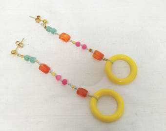 Yellow hoop, Carnelian, Sugalite, Amazonite Earrings, Handstrung on Blue Silk