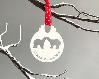 Personalised 'Mr & Mrs' Polar Bear Bauble-Personalised Christmas Tree Decoration-Personalised Holiday Decorations-Personalised Bauble