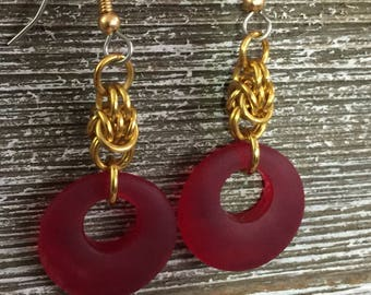 Eco-friendly Handcrafted Dangle Earrings for Women:  Red Cultured Sea Glass