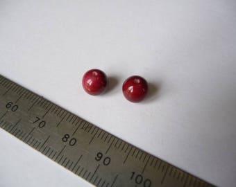 Set of 2 8 mm, dark red beads