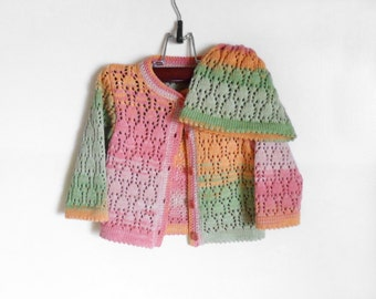 Knitted Baby Girl Cardigan and Hat - Peach,Pink,Green, 6 - 12 months,Lace Knitted Cotton Jacket Spring Summer Baby Clothing Set Handmade