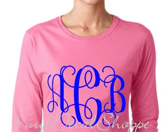 Ladies Monogrammed Long Sleeve Shirt, Custom Monogrammed Shirt, Winter Monogram SHirt, Monogrammed Shirt, Plus Size Monogram Shirt,