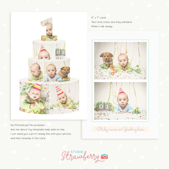 First Birthday Card Template, Birthday Cake Collage, Cake Smash Template,  One Year, Baby Birthday Invitations, Baby Card, Birthday Collage