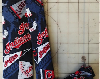 MLB Cleveland Indians Pennant Logo Neckties in bow tie, skinny tie, and standard tie styles, kids or adult sizes