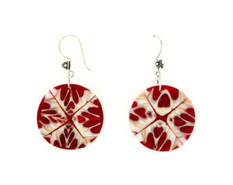 Kaleidoscope Design of Mitra Mitra Seashell and Red Dangle Earrings