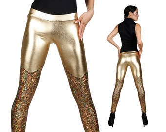 Futuristic Leggings; Gold, Holographic Clothing, Burning Man Leggings, Ravewear, Glam Rock, Stage Wear, Futuristic Clothing, by LENA QUIST