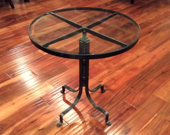 Round Glass Top Adjustable Height End Table: Free Shipping