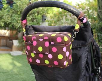 Small Diaper Bag - Small Nappy Bag - Pink Stroller Bag - pink brown Pram Bag - Buggy Bag