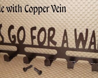 "Dog Leash Holder ""Let's go for a walk!"", Key Holder, 14 inches Wide, Copper Vein, Rescue Shelter Dog,  Pet gift, Powder coated, Solid Steel"