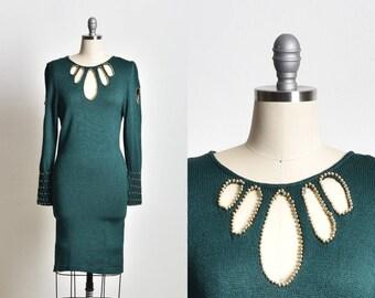 Evening dress, Open back dress, Dark green dress, Green dress, knitted dress, beaded dress, vintage dress xmas dress xmas gift, gift for her