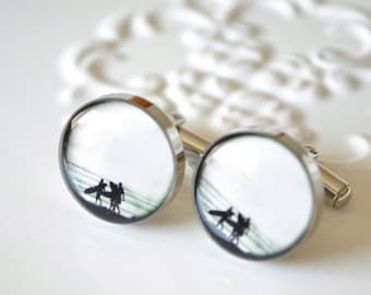 Surfer Cufflinks / Gift for him / Vintage black and white print round cuff link accessories for men handcrafted in the USA