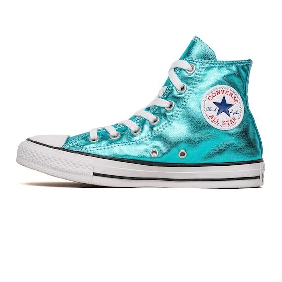 Blue Converse High Top Turquoise Teal Aqua Metallic Wedding Chuck Taylor Custom w/ Swarovski Crystal Rhinestone Bling All Star Sneakers Shoe