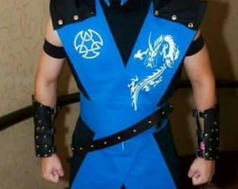 Sub Zero ninja cosplay costume from Mortal kombat video game, Sub-zero Halloween costume, MK assassin outfit