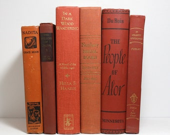 Vintage Books, Bundle of 6 Decorative Hardcover Books, Lightly Shabby Books, Published 1936 to 1989, Floating Books, Interior Design