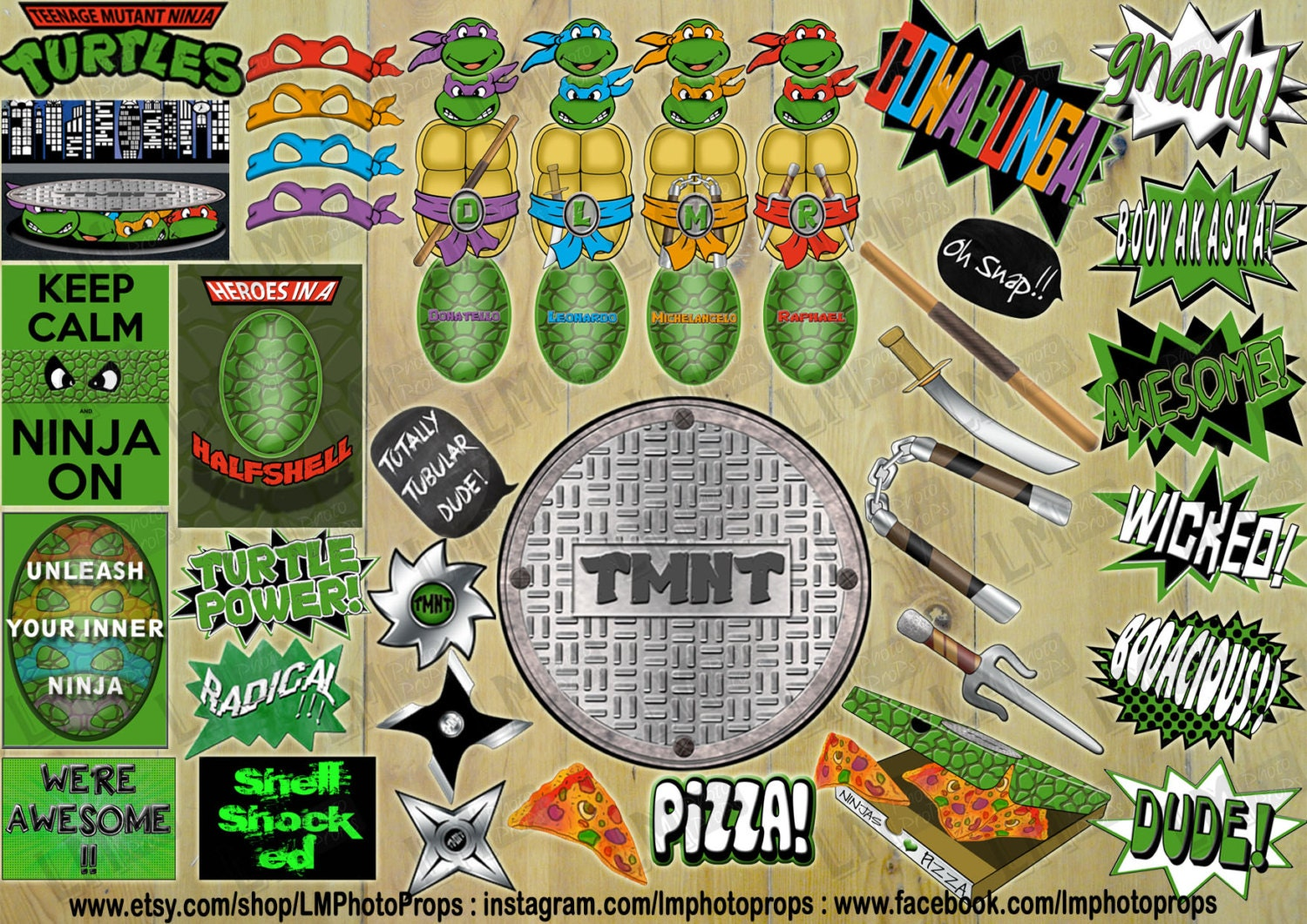 Teenage Mutant Ninja Turtles Photobooth Requisiten Teenage