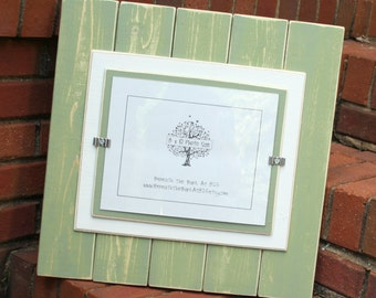8x10 Picture Frame - Distressed Wood - Double Mats - Holds an 8x10 Photo - Sage Green & White