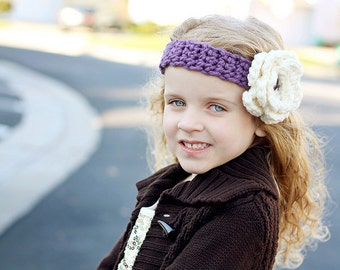 """Crocheted Headband/Hairwrap """"The Madison""""  Soft Mauve, Flowers Buttons Photo Prop Winter Warm"""