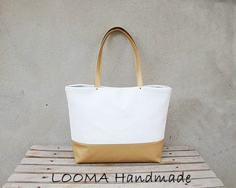 Faux leather bag white bottom and gold handles, faux leather bag, Beach tote bag, Casual tote bag, Summer tote bag, white gold bag, Weekend bag