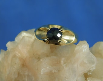 Custom 1.28 ct. Round Black Diamond Reverse Set Pyramid Point 14k Solid Yellow Gold