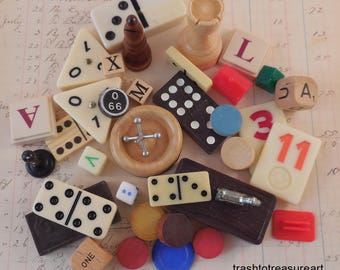 Fun & Games Vintage Game Pieces 37 Pieces,Dominoes,Jacks,Dice,Chess,Bingo,monopoly and more