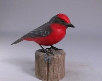 Vermillion Flycatcher Hand Carved Wooden Bird