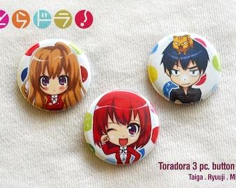 Toradora 3pc Button Set