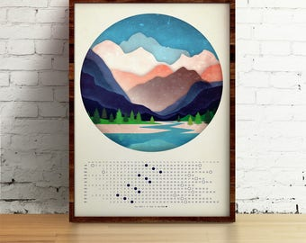 Moon Calendar 2018, Mountains and the river, Lunar calendar 2018,  wall lunar calendar- A3, A3+ size, office decor