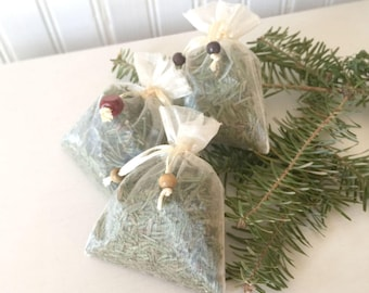 Three Fresh Balsam Fir Sachets with Wooden Beads Organza Bags Aroma Therapy Set of 3