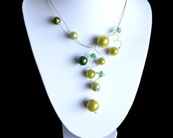 Green Yellow Necklace, Miracle Bead Necklace, Swirls Necklace, Statement Necklace, Illusion Necklace