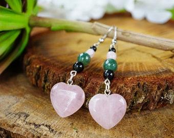 Rose Quartz Heart Earrings, Tourmalinated Quartz, Dangle Crystal Earrings, Moss Agate Earrings, Pink Crystal Earrings, Rose Quartz Earrings