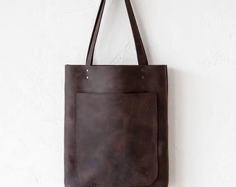 Rustic Dark Brown Leather Tote bag, brown Leather Bag, front Pocket Bag, School Bag, Travel Tote bag, Shopper Bag, Rustic