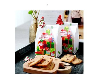 Christmas Gift Bags - Christmas Cookie Bags - Holiday Gift Bags - Christmas Gift Wrap - Christmas Packaging, Set of 10