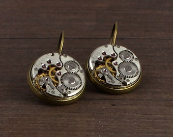 Steampunk Earrings, Watch Parts Earrings, antique brass earrings, lever back earrings, unique earrings, dangle earrings, gift for her