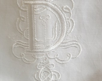 "Embroidered ""D"" Monogram Guest Towel in White with  Gilucci Border /Free shipping"
