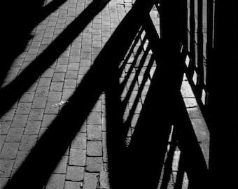 Photograph black and white abstract sidewalk  shadows walk way travel New Mexico wall decor