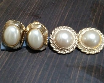 2 Pairs Faux Pearl Clip On Earrings