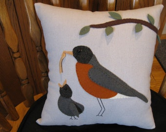 Spring Robin and Baby Hand Stitched Wool Applique Bird Pillow
