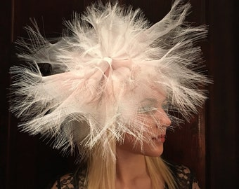 Womens Fascinator- Large Brim hat-Derby  Headband- Derby Hat- Bridal- Wedding - Blush Fascinator -Tea party- Day at the Races-